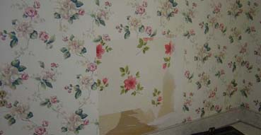 Ahh! Two layers of ugly wallpaper