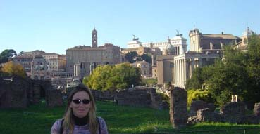Sam enjoys the sunny confines of the Roman Forum.