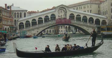 A Gondola and the Rialto Bridge.