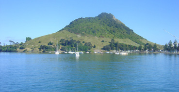 View of Mount Maunganui from the Dolphin cruise.