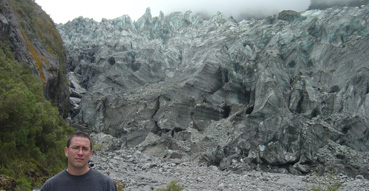 Eric at the face of Fox Glacier.