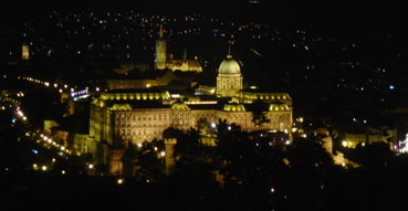 Budapest Castle at night from Gellerthegy Hill.