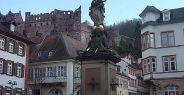 View of Heidelberg Castle from town.
