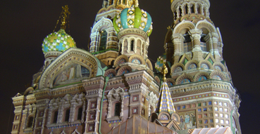 Church on Spilled Blood at night.