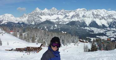 Sam stands up to the mountains at Schladming.